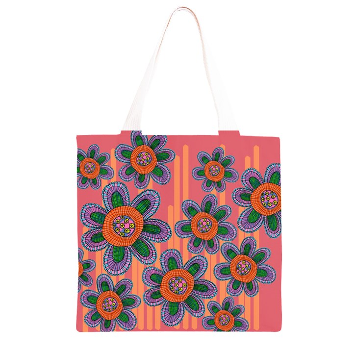 Colorful Floral Dream Grocery Light Tote Bag