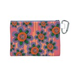 Colorful Floral Dream Canvas Cosmetic Bag (M) Back