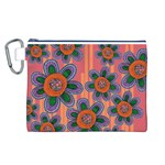 Colorful Floral Dream Canvas Cosmetic Bag (L) Front