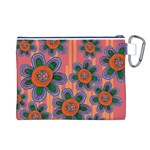 Colorful Floral Dream Canvas Cosmetic Bag (L) Back