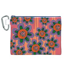 Colorful Floral Dream Canvas Cosmetic Bag (xl)