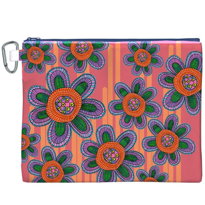 Colorful Floral Dream Canvas Cosmetic Bag (XXXL)