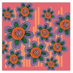 Colorful Floral Dream Large Satin Scarf (Square) Front