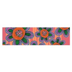 Colorful Floral Dream Satin Scarf (Oblong)