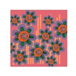 Colorful Floral Dream Small Satin Scarf (Square)  Front