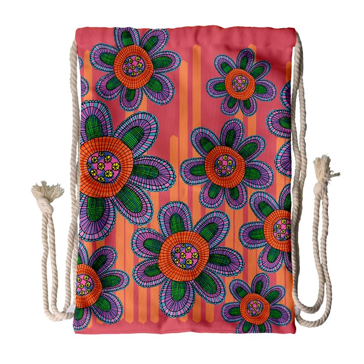 Colorful Floral Dream Drawstring Bag (Large)