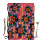Colorful Floral Dream Drawstring Bag (Large) Back