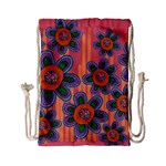 Colorful Floral Dream Drawstring Bag (Small) Back