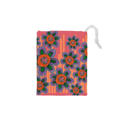 Colorful Floral Dream Drawstring Pouches (XS)
