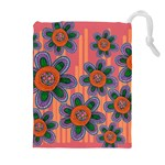 Colorful Floral Dream Drawstring Pouches (Extra Large) Front