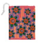 Colorful Floral Dream Drawstring Pouches (Extra Large) Back