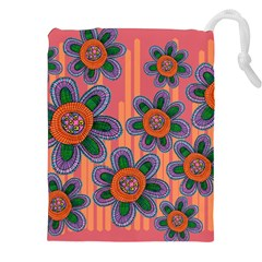 Colorful Floral Dream Drawstring Pouches (XXL)