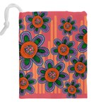 Colorful Floral Dream Drawstring Pouches (XXL) Back
