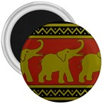 Elephant Pattern 3  Magnets Front