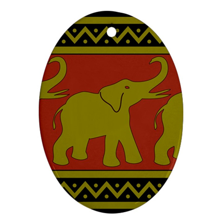 Elephant Pattern Ornament (Oval)