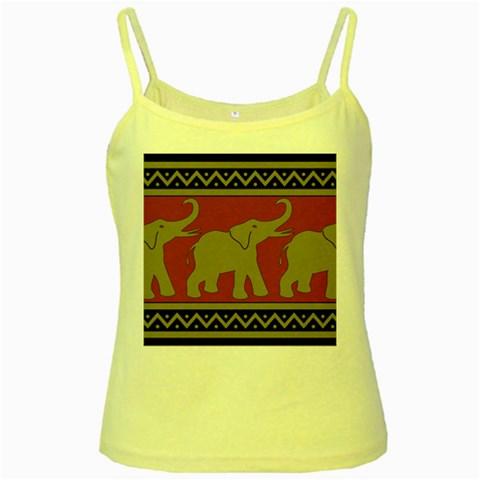 Elephant Pattern Yellow Spaghetti Tank