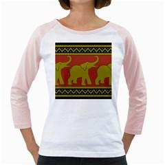 Elephant Pattern Girly Raglans