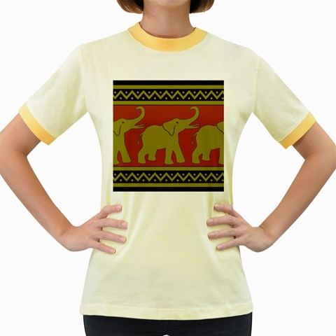 Elephant Pattern Women s Fitted Ringer T-Shirts