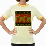 Elephant Pattern Women s Fitted Ringer T-Shirts Front