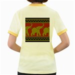 Elephant Pattern Women s Fitted Ringer T-Shirts Back