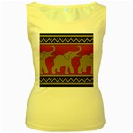 Elephant Pattern Women s Yellow Tank Top Front