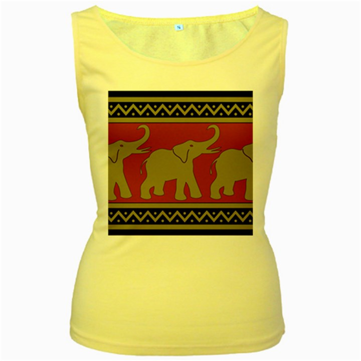 Elephant Pattern Women s Yellow Tank Top