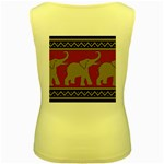 Elephant Pattern Women s Yellow Tank Top Back