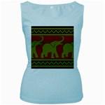 Elephant Pattern Women s Baby Blue Tank Top Front