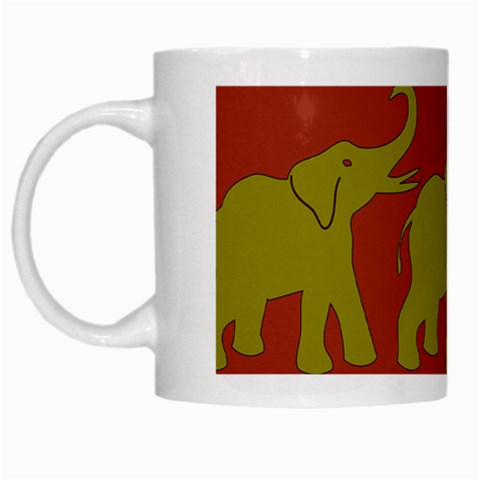Elephant Pattern White Mugs