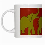 Elephant Pattern White Mugs Left