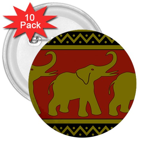 Elephant Pattern 3  Buttons (10 pack)