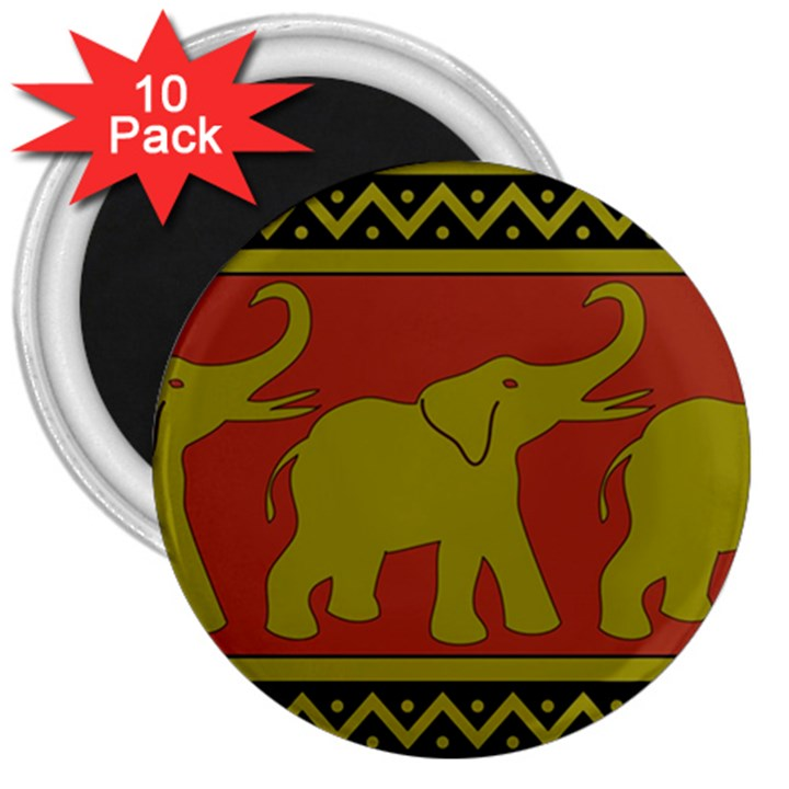 Elephant Pattern 3  Magnets (10 pack)