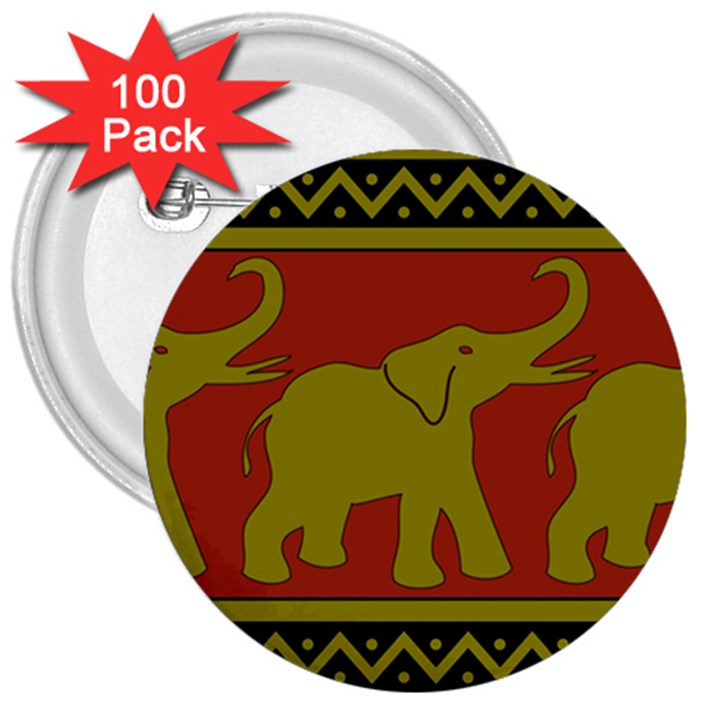 Elephant Pattern 3  Buttons (100 pack)