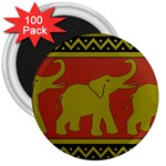 Elephant Pattern 3  Magnets (100 pack) Front