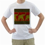 Elephant Pattern Men s T-Shirt (White) (Two Sided) Front