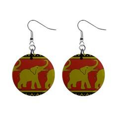 Elephant Pattern Mini Button Earrings