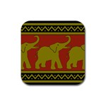 Elephant Pattern Rubber Coaster (Square)  Front
