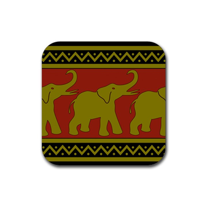 Elephant Pattern Rubber Square Coaster (4 pack)