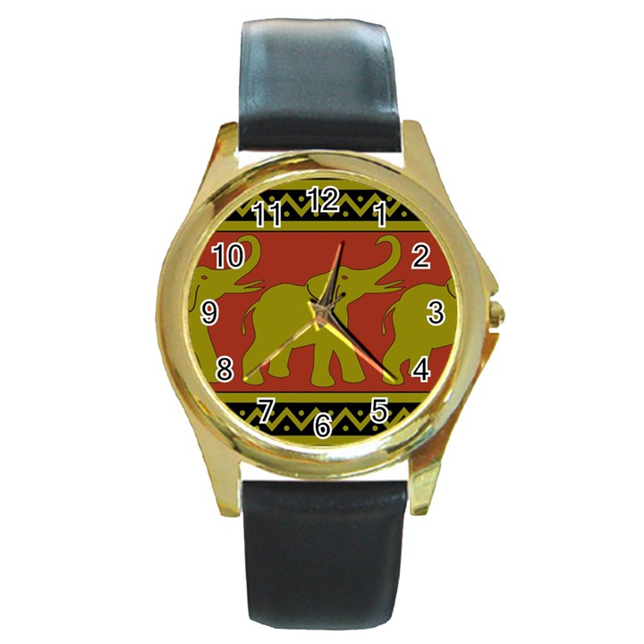 Elephant Pattern Round Gold Metal Watch