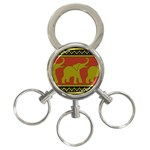 Elephant Pattern 3-Ring Key Chains Front