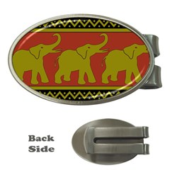 Elephant Pattern Money Clips (Oval)