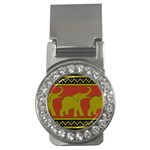 Elephant Pattern Money Clips (CZ)  Front