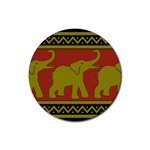 Elephant Pattern Rubber Coaster (Round)  Front