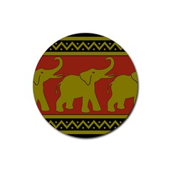 Elephant Pattern Rubber Round Coaster (4 pack)