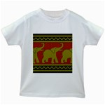 Elephant Pattern Kids White T-Shirts Front