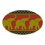 Elephant Pattern Oval Magnet Front