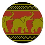 Elephant Pattern Magnet 5  (Round) Front