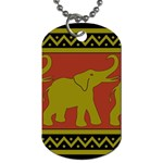 Elephant Pattern Dog Tag (One Side) Front