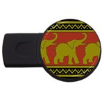 Elephant Pattern USB Flash Drive Round (2 GB)  Front