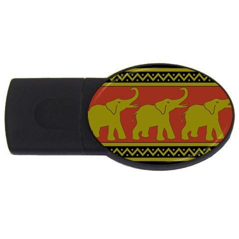 Elephant Pattern USB Flash Drive Oval (1 GB)